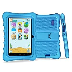 Yuntab 7 pouces Tablette Tactile enfant Allwinner A33 HD 1024 X 600 Tablette PC Android 4.4.2 KITKAT 8 Go WiFi intégré Iwawa logiciel Youtube Jeux Éducatif avec étui (tablette bleue, étui bleu)