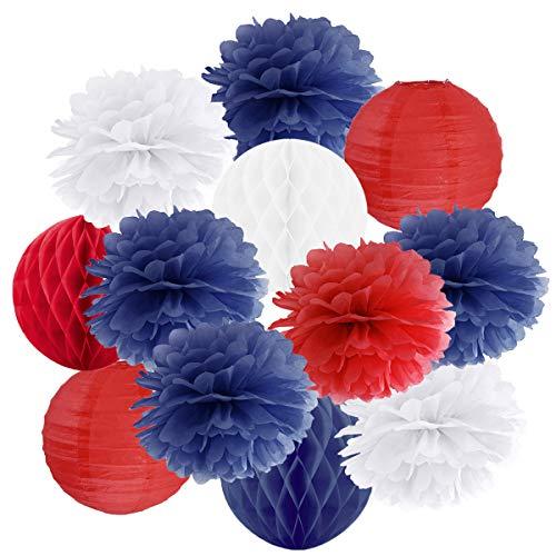 in due Hängedekoration 12 teilig Mix blau/rot / weiß - Lampions, Wabenbälle/Honeycombs, Pompoms