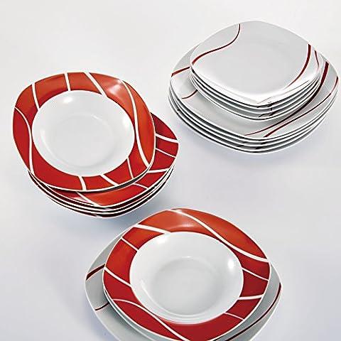 Malacasa, Série Felisa, 36 pièces Assiettes Service de Table en Porcelaine 12 Assiettes Plates, 12 Assiette à Dessert Gâteau, 12 Assiettes Creuses Vaisselels pour 12 Personnes