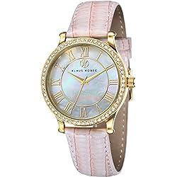 Klaus Kobec KK-10003-02 Ladies Lily Gold Plated Watch with Swarovski Crystal Bezel