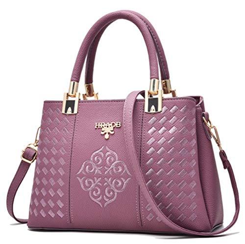 Hanbella Modische Damen-Geldbörse/Umhängetasche aus Leder, modisches Design, Violett (violett), Medium