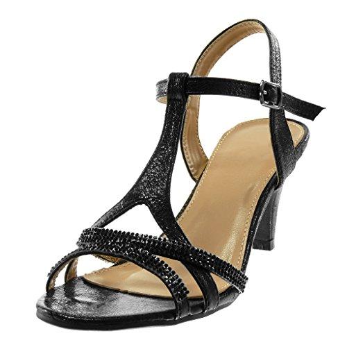 Angkorly - Scarpe Moda Sandali Decollete con Tacco con Cinturino alla Caviglia Metallico Elegante Donna Strass Lucide Tanga Tacco a Cono Alto 8 CM - Nero R12-09 T 39