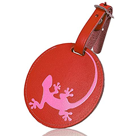 travelicia® - Kofferanhänger mit Adressschild - Reisegepäckanhänger, Echtes Leder, rot / rosa, mit Gecko Motiv für Flug und Reisen, Witziger Gepäckanhänger für Koffer, Rucksack, Tasche