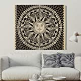 Sonne Kompass Wandteppich Wandbehang Indisch Bohemian Tuch Wandtuch Hippie Tapestry Tapisserie Wanddeko als Strandtuch Tischdecke Schwarz 100x150cm