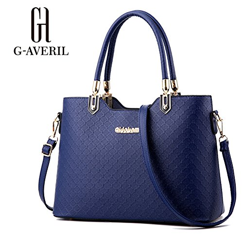(G-AVERIL) Borse In Vera Pelle Designer Top-Handle Spalla Del Tote Della Borsa Per Le Donne Blu scuro