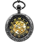 Stayoung Steampunk Antiguo Negro Números Romanos Cuerda Manual Reloj de Bolsillo Mecánico Colgante Cadena Lupa Caballero Negro Alta Calidad