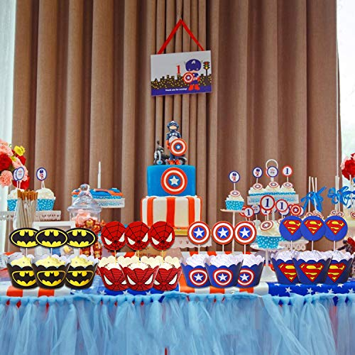 517YZ9KW0eL - 96 piezas de superhéroes Cupcake Envoltorios Toppers Decoraciones de mesa para pasteles Artículos de fiesta 4 estilos-Spiderman Superman Batman Capitán Fiesta de cumpleaños Favores de decoración