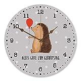 Mr. & Mrs. Panda 30 cm Wanduhr Igel mit Luftballon - Igel, Geburtstag, Herzlichen Glückwunsch, Glückwunsch, Geburtstagskind, Ballon, Happy Birthday Wanduhr, Uhr, Kunderuhr, Kinderzimmer, Rund, Druck