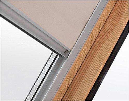 Verdunkelungsrollo RUR F6A beige Innenrollo mit 100{31ef0507e9f28f4162da766eaaee74465b57d25fe99b2f0527c5769f88b9e4db}iger Verdunkelungswirkung 48 cm breit für Dachfenster Größe F6A 66 x 118 cm