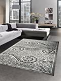 Designer Teppich Wohnzimmerteppich Steine Mosaik Glitzer creme grau schwarz Größe 160x220 cm