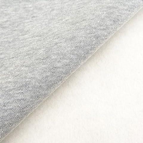Tissu Molleton Sweat uni Gris chiné - Par 50 cm