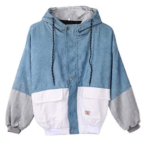 Lamdoo Paare Oversized Bomberjacke Patchwork große Taschen Kapuzenmantel Mantel Kontrastfarbe, seeblau, M