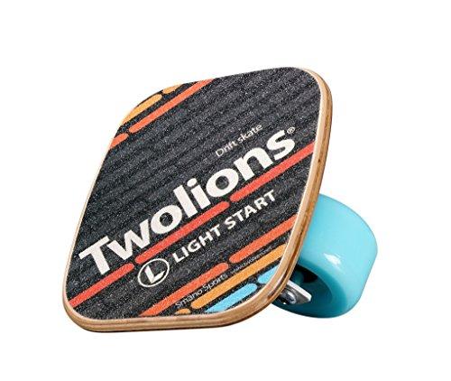 TWOLIONS Drift Skates,72mm PU Räder und ABEC 7 Kugellager,Skates Stahl-Ahorn Holz (links & rechts) (Blau)