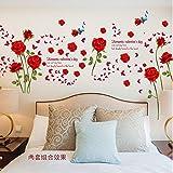 JXMK Rose Rouge Romantique Chambre à Coucher Porche Salon Salle de Bains TV Fond...