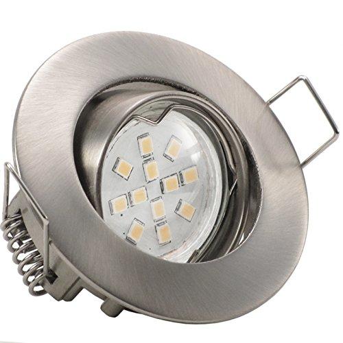 3er Set (3-8er Sets) Einbaustrahler PICCO extra flach geringe Einbautiefe ca. 3 cm; LED 2,0 Watt (210 Lumen) Warm-Weiß; 12V inkl. Trafo; EDELSTAHL OPTIK (auch in Chrom, Weiß)