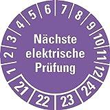 LEMAX® Prüfplakette Nächste elektrische Prüfung 21-24,violett,Dokufolie,Ø30mm,18/Bogen
