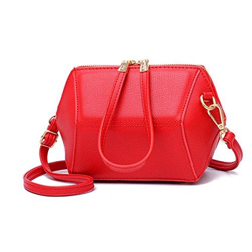 Mini Muschel Geometrische Tasche Mädchen Holding Tasche Messenger Schultertasche Handy Geldbörse,Red-OneSize (Muschel-geldbörse)