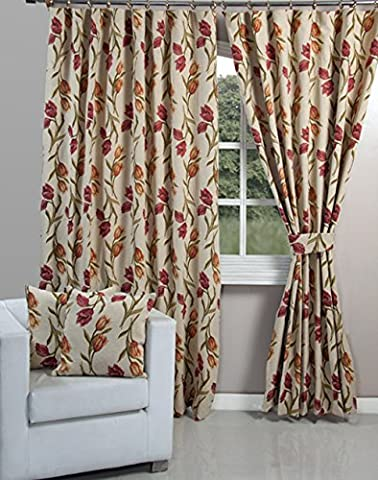 EHC Jacquard Tapestry Vintage Tulip Fully Lined Pair of Curtains, Multi-Colour, 90 x 90-Inch