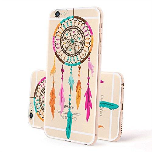 FINOO ® | Iphone 6 / 6S Hardcase Handy-Hülle | Transparente Hart-Back Cover Schale mit Motiv Muster | Tasche Case mit Ultra Slim Rundum-schutz | stoßfestes dünnes Bumper Etui | Kringel Henna Dreamcatcher bunt