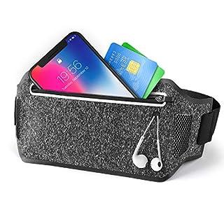 JVMAC Joggen Hüfttasche, Laufgürtel Gürteltasche Flache Bauchtasche Wasserdichte mit Kopfhöreranlass Passt für Damen und Herren für Laufen, Wandern, Reiten für alle Arten von Handy unter 6 Zoll