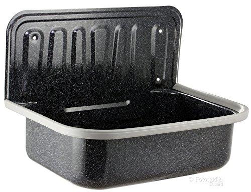 Spülbecken aus Stahl in Granit-Optik für Keller Garten Waschküche