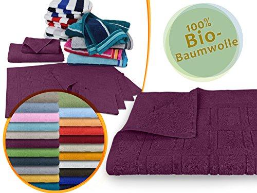 Traumhaft weiche Bio-Handtuchserie - erhältlich in 22 modischen Unifarben in 7 verschiedenen Größen, sowie 7 Streifen-Variationen, 1 Badvorleger 50 x 80 cm, beere