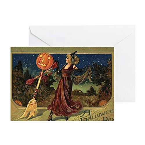 age Halloween Dancing Hexe–Grußkarte, Note Karte, Geburtstagskarte, innen blanko, glänzend (Vintage Halloween-jack O Laternen)