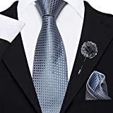 Axlon Men's Micro Polyester Necktie Set with Pocket Square and Lapel Pin (Grey , Free Size)
