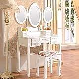 Generic Coiffeuse avec Table et Miroir Blanc et Rose Floral Ral St Vanity Miroirs tiroirs Tabouret