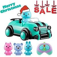 Joyhero RC Cartoon Race Car, Juguetes de Control Remoto para automóvil con Luces de música 3 Conductores alternativos Bebé aprendiendo vehículos para Niños (Verde)