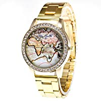 VGEBY1 Luxury Wrist Watch, Fashionable Shiny Quartz Watch with Alloy Watchband and Rhinestone World Map Pattern Dial