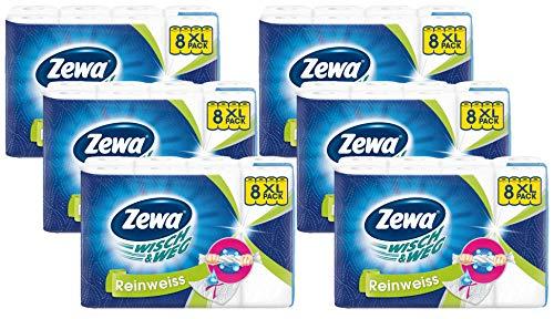 Zewa Wisch&Weg Reinweiss Küchenrolle mit Power-X-Struktur, 48 Stück -