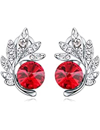 NEVI Trendy Flower Swarovski Crystals Czech Crystals Rhodium Plated Stud Earrings Jewellery for Women And Girls