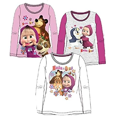T-shirt maglietta Bimba Masha e Orso *21696 Maglia Manica lunga