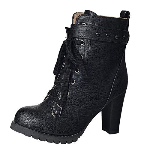 YE Damen Blcockabsatz Ankle Boots High Heels Stiefeletten mit Schnürsenkel und Nieten Elegant...