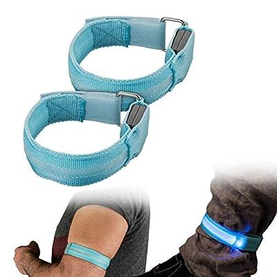 yayago 2er Set Sicherheits LED Reflex Armband LED Leuchtarmband in Blau