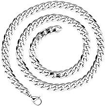 LDUDU® Collar hombre cadena acero inoxidable Largo eslabones de la cadena, acero inoxidable, color plata