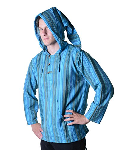 Gestreiftes Fischerhemd Kurtha Überzieher Hemd Poncho Mittelalter mit Zipfelkapuze Blau