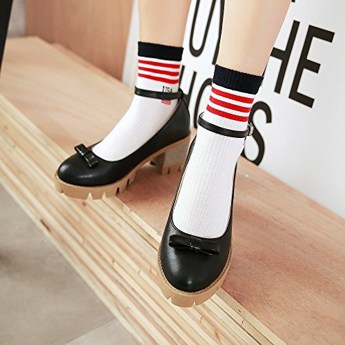 TAOFFEN Femmes Escarpins Elegant Sangle De Cheville Bloc Plateforme Chaussures De Bowknot Noir