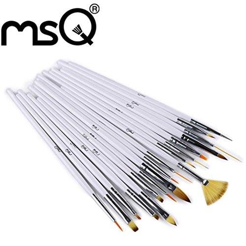 Sansee 18pcs Brosse Cosmétique Set Top Qualité Brosse à ongles Manche en bois Nail Art Pen (ARGENT BLANC)