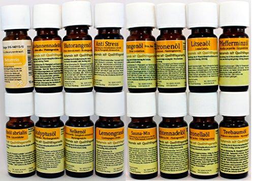 Set de 16 Botellas de Aceites Esenciales Puros para Aromaterapia Grado Terapéutico. Pack Surtido REF28 -Clavo de Olor, Arbol de Te, Citronela, Litsea Cubeba, Menta, Naranja Dulce, Abeto Noble, Lavanda Hibrida, Aguja de Abeto, Limon,Naranja, Sauna Mix, Eucalipto, Anti Sress, Hierba de Limon, Klarer Kopf