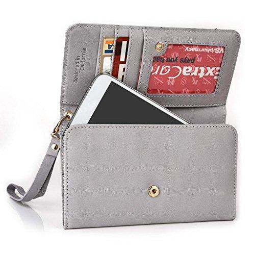 Kroo Pochette en cuir véritable téléphone portable Housse pour Oppo Find 7 Gris - Gris Gris - Gris