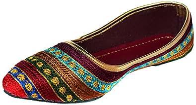 Rajasthani Prints Women's Multicoloured Velvet Jutti - 4 UK