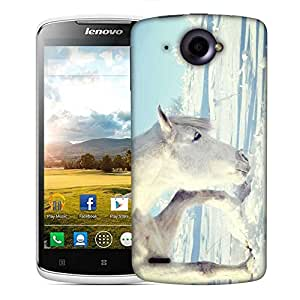 Snoogg White Snow Horse Designer Protective Phone Back Case Cover For Lenovo S920