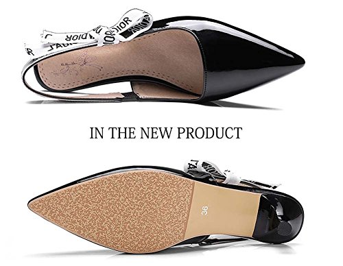 L&Y Scarpe di cuoio brevettate da donna con pompa a punta delle donne Scarpe con cinturino in profondità comode 32-44 Nero