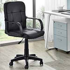 ArtLife Bürodrehstuhl Pensacola mit Armlehnen & Polsterung | höhenverstellbar | 5 Rollen | 120 kg | Kunstleder | schwarz | Bürostuhl Schreibtischstuhl