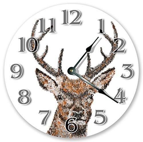 NVBFH43545 Amazing Mosaic Deer Head Clock Art Wooden Wall Clock Silent Modern Wall Clock for Living Room Bedrooms Children Rooms Wall Art 12x12 in