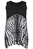 Yours Clothing Women's Plus Size Tie Dye Print Swing Vest Top Size 22-24 Black