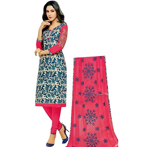 Lady Line Cotton Embroidered Sleeves Salwar Kameez Suit Un-Stitched / Dress Material