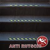 Anti-Rutsch-Streifen / 65 x 3 cm / 10 Stück / gelb reflektierend / selbstklebend / für Sicherheit beim Treppensteigen